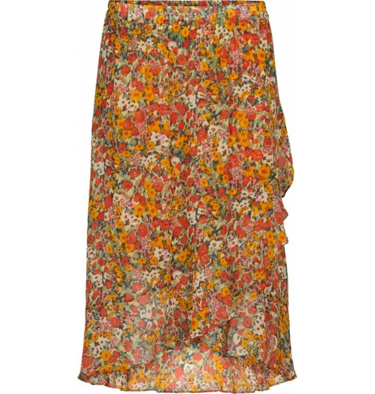 Second Female Second Female Orange Floral Skirt Bloom