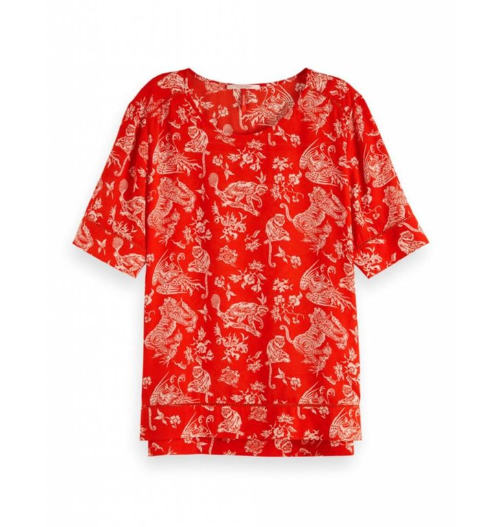 Maison Scotch Maison Scotch Red Allover Print Top 149800