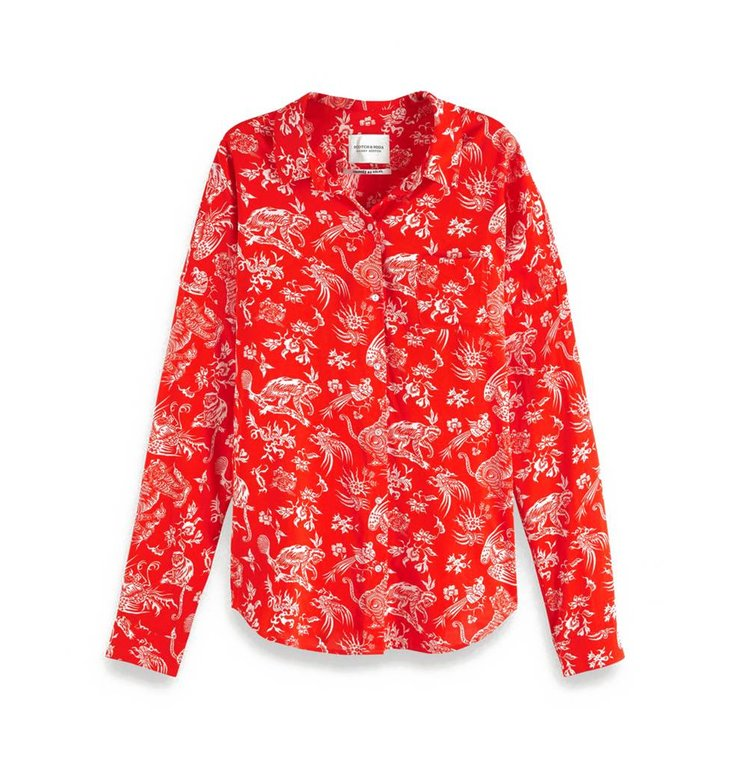Maison Scotch Maison Scotch Red Oversized Shirt 149773
