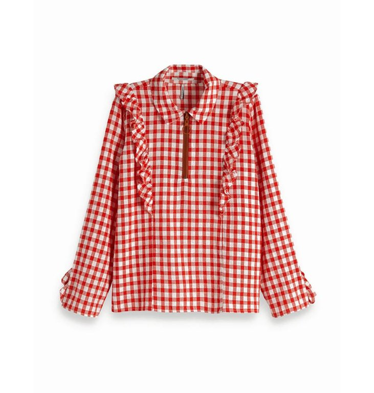 Maison Scotch Maison Scotch Red Gingham Checked Blouse 149796