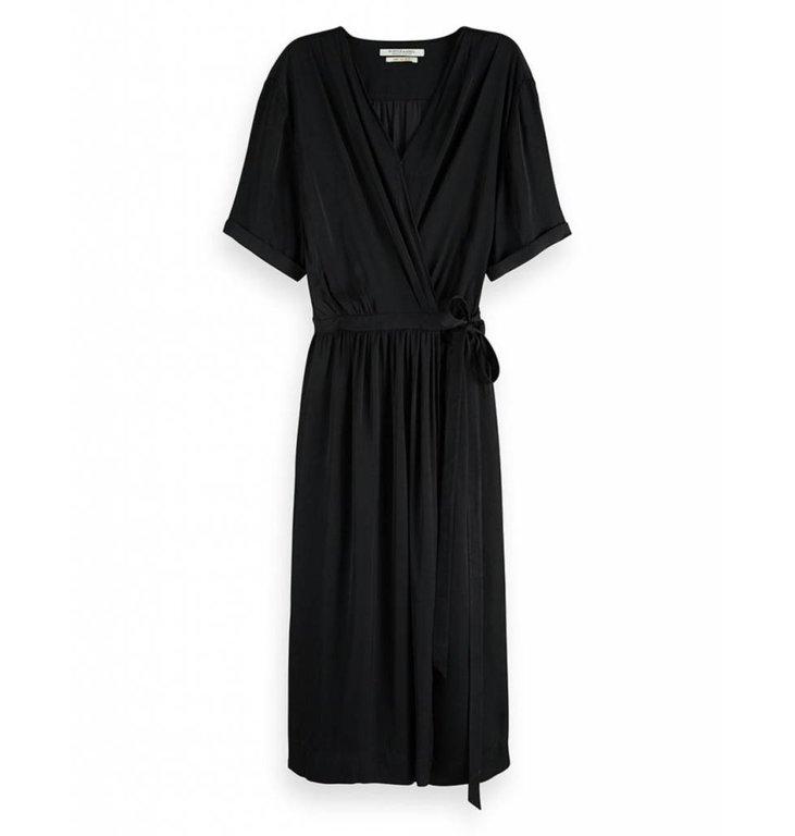 Maison Scotch Maison Scotch Black Midi Wrap Dress 149860