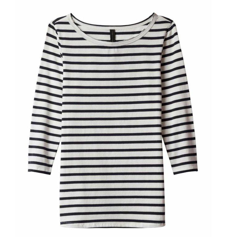 10Days 10Days Black/White 3/4 Sleeve Tee Stripe 20.785.9101