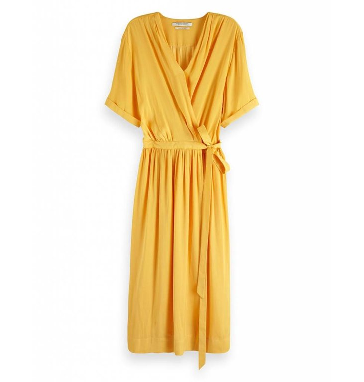 Maison Scotch Maison Scotch Yellow Midi Wrap Dress 149860