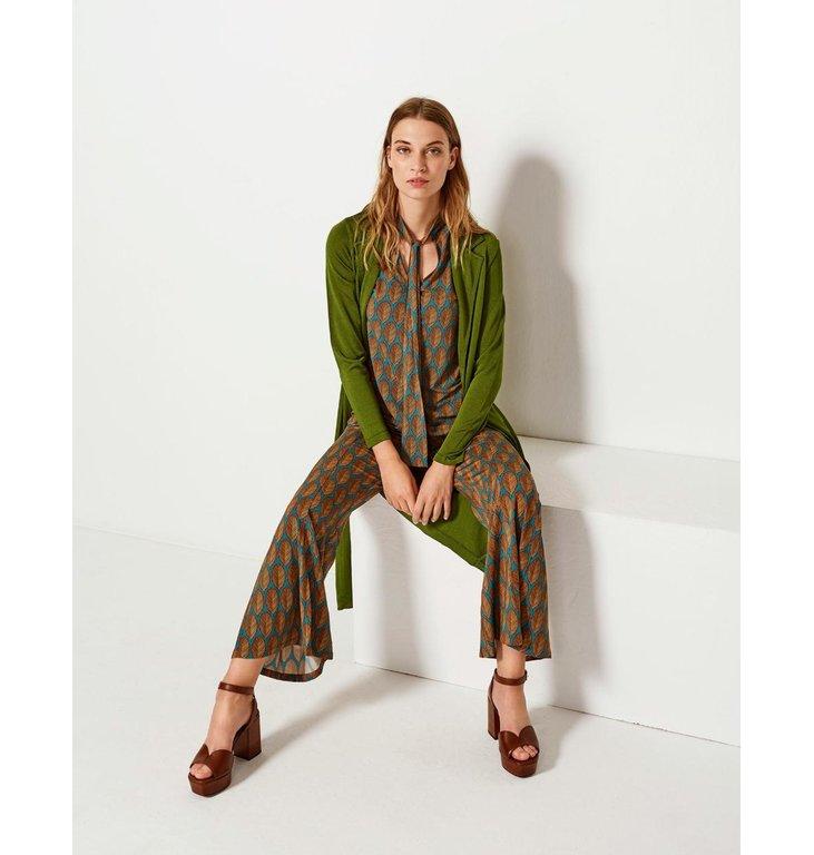Siyu Siyu Green Leaf Print Woven Trousers Cappa 33