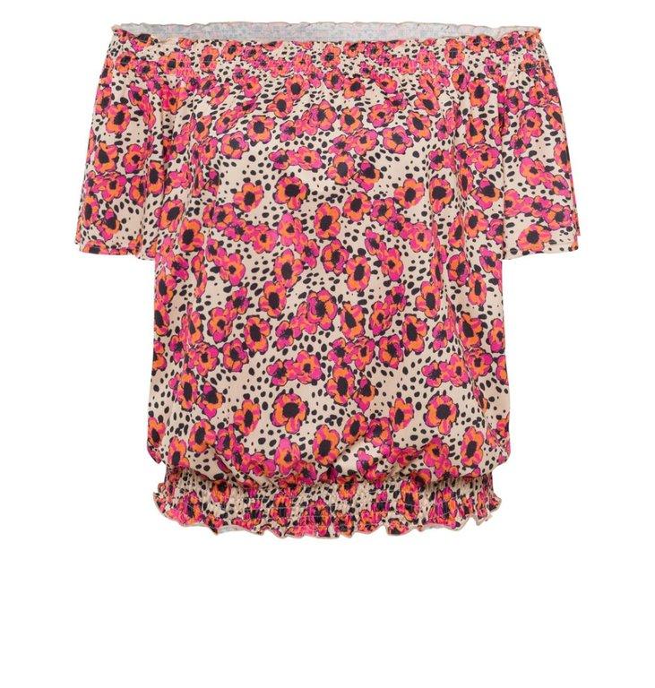 Marc Aurel Marc Aurel Pink Floral Off Shoulder Top 7808