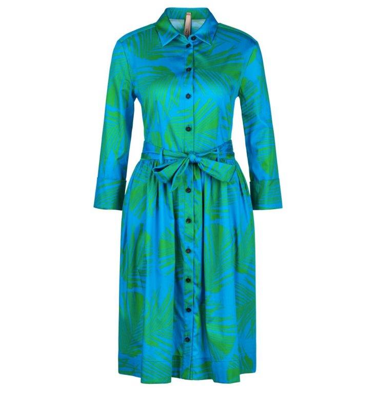 Marc Cain Marc Cain Blue Leaf Print Dress LA2132