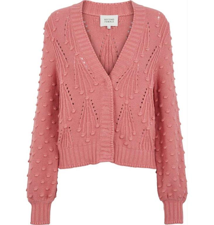Second Female Second Female Pink Naga Knit Cardigan 52243