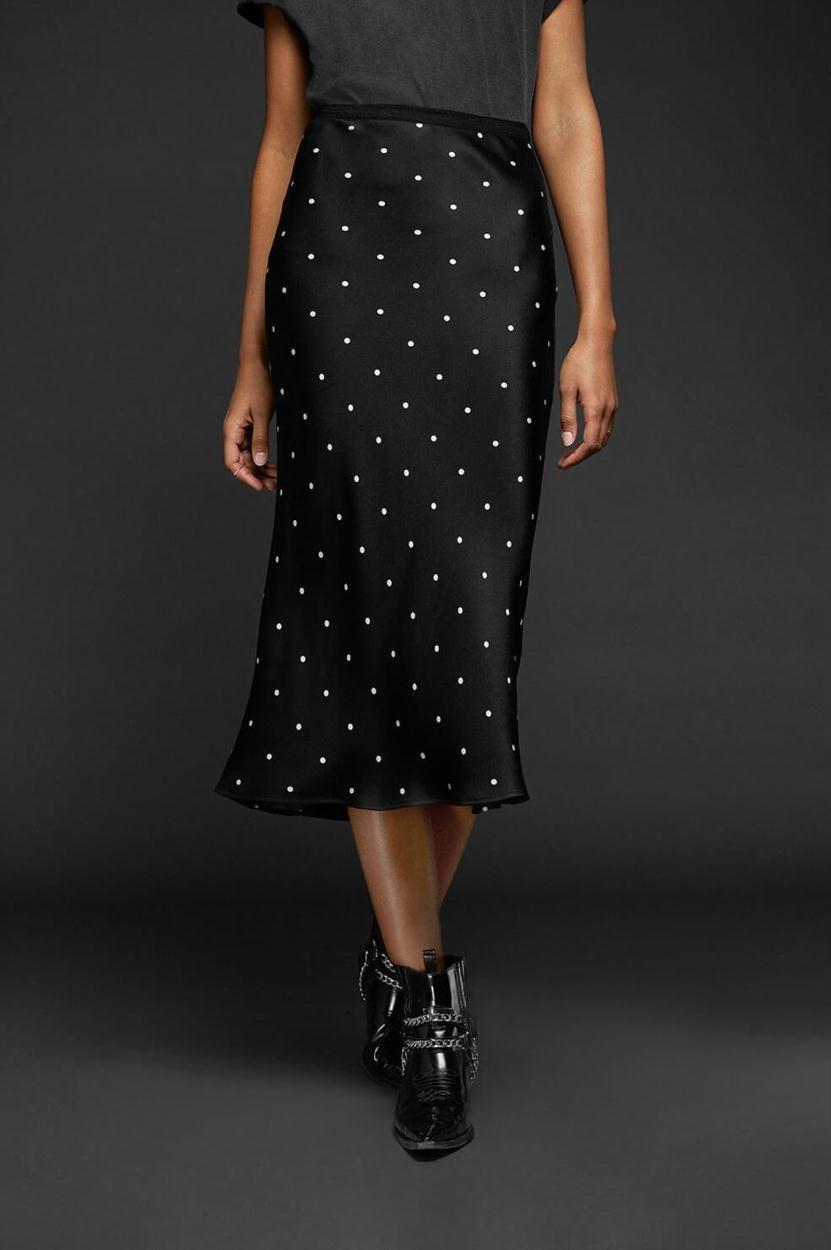 Anine Bing Black Bar Silk Skirt AB34
