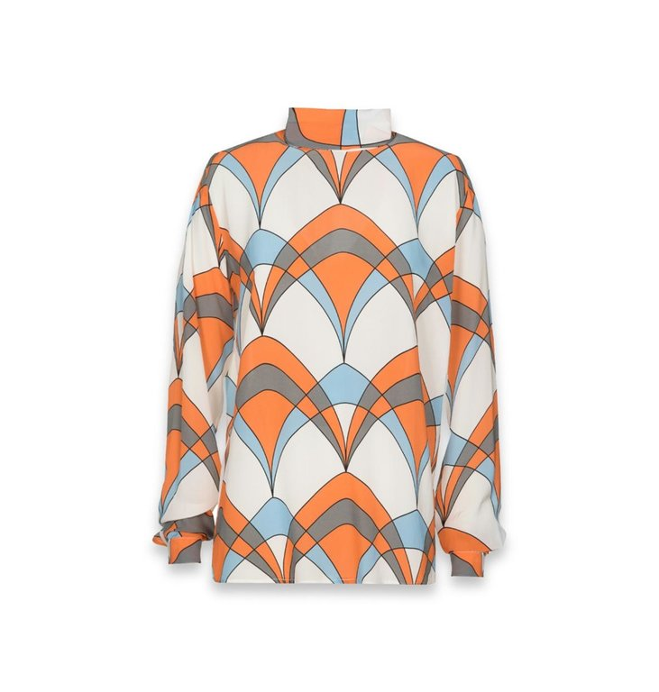 Essentiel Antwerp Essentiel Antwerp White Retro Print Blouse Ties