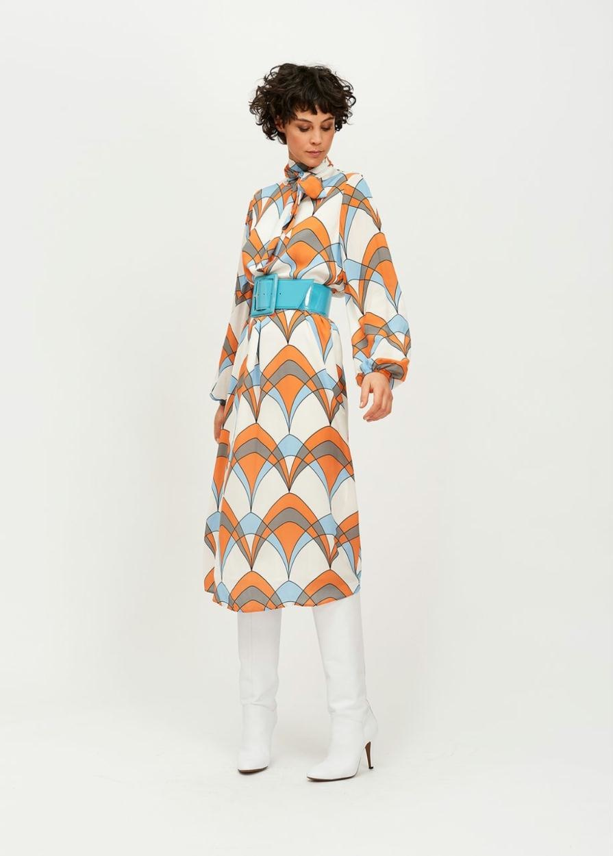 Essentiel Antwerp White Retro Print Dress Tanterachel