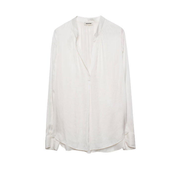 Zadig & Voltaire Zadig & Voltaire White Tink Satin Blouse PWGCP3201F