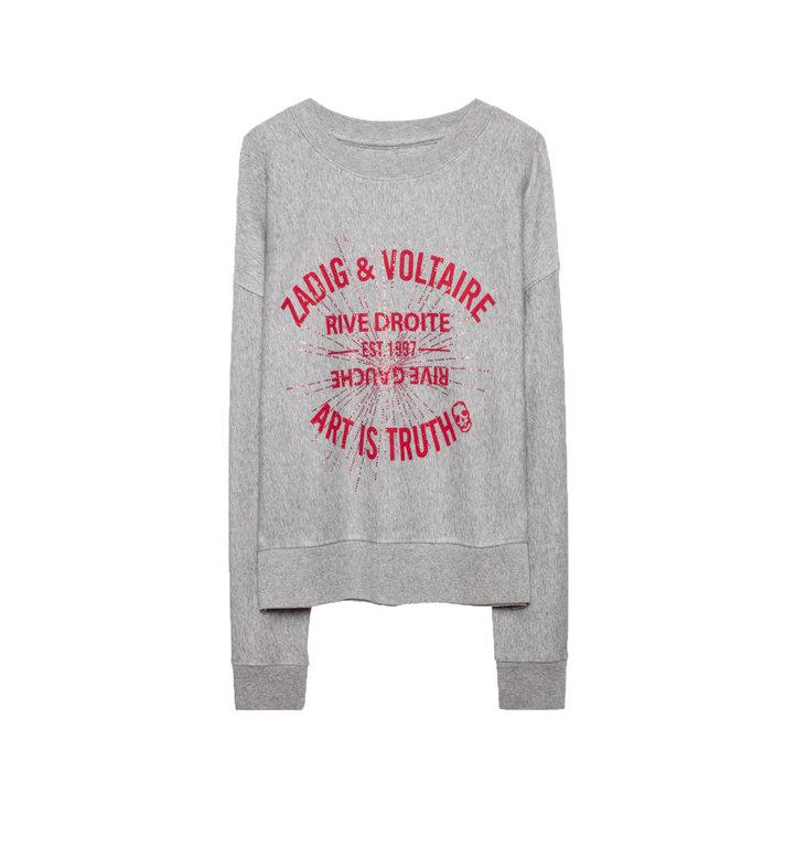 Zadig & Voltaire Zadig & Voltaire Grey Hany Blason STR Sweater WHTS7108F