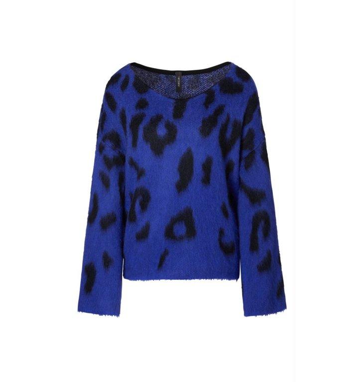 Marc Cain Marc Cain Cobalt Blue Leopard Knit MC4127