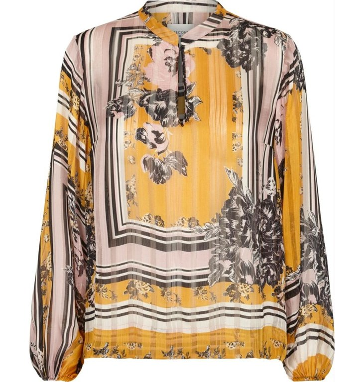 Second Female Second Female Yellow Printed Blouse Valley LS Tunic