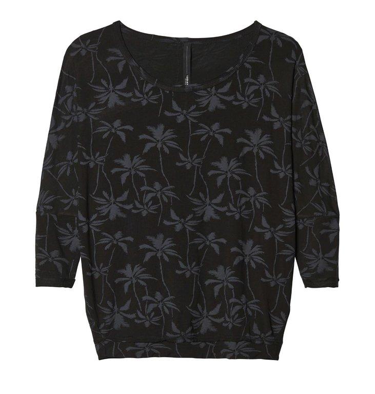 10Days 10Days Black 3/4 Sleeve Loose Tee Palm 20.785.9103