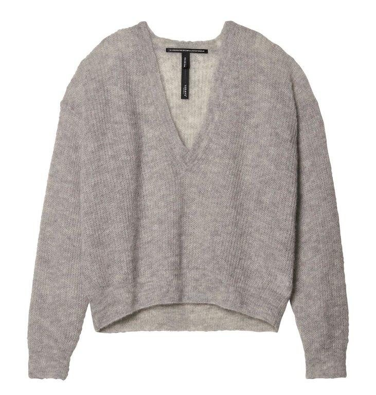 10Days 10Days Light Grey Melee Light Knit Sweater V-Neck 20.606.9103/7