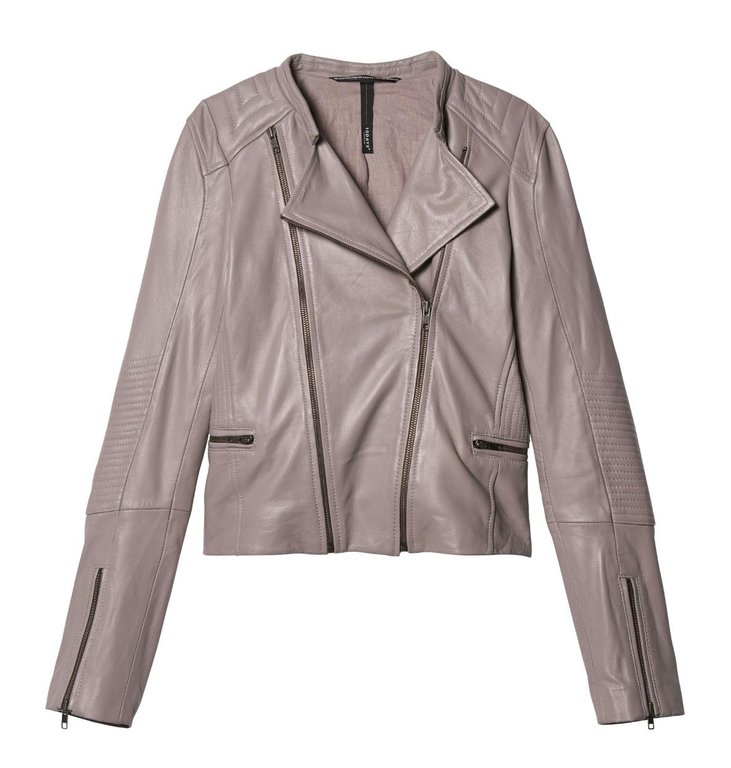 10Days 10Days Grey Leather Biker Jacket 20.516.9103/8
