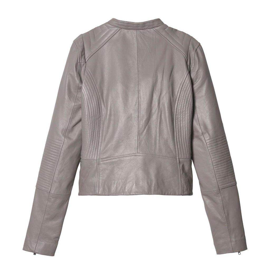 10Days Grey Leather Biker Jacket 20.516.9103/8