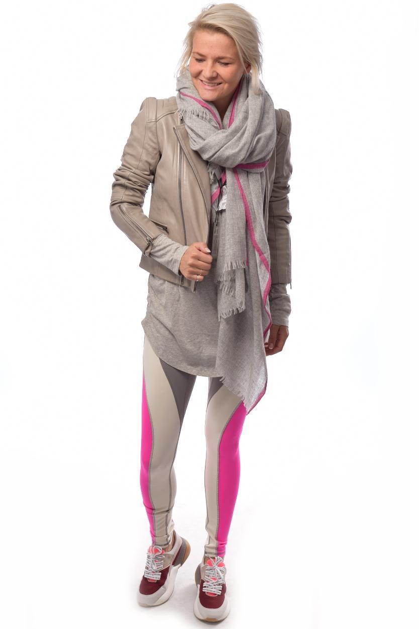 10Days Light Grey Melee Scarf Fluor Stripes 20.904.9103/8