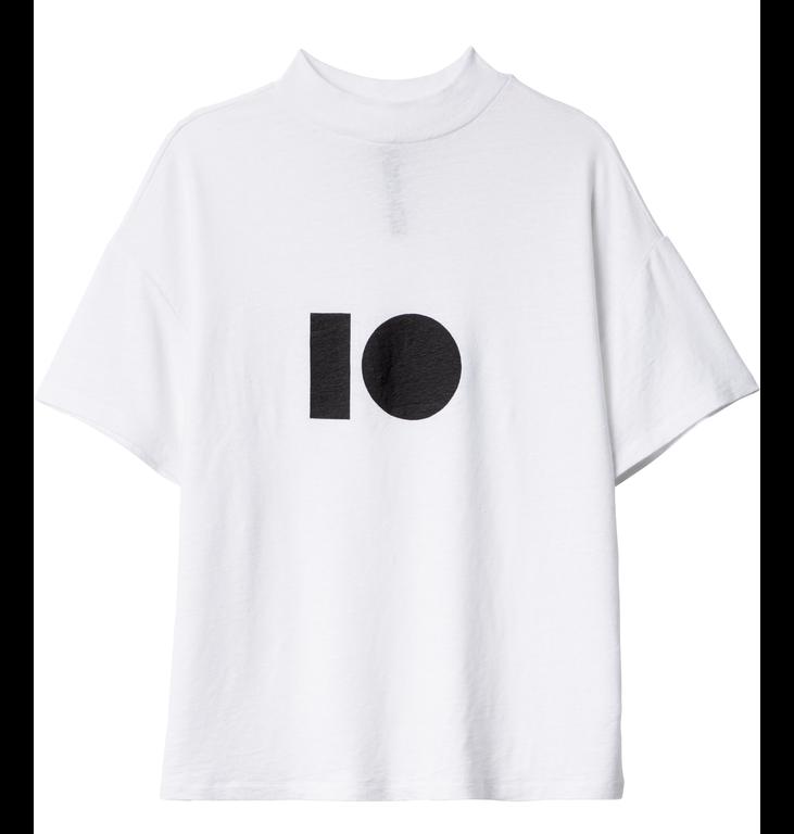 10Days 10Days White Turtle Neck Linen Tee 20.750.9103/7