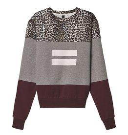 10Days 10Days Light Grey Melee Leopard Panel Sweater 20.807.9103/9