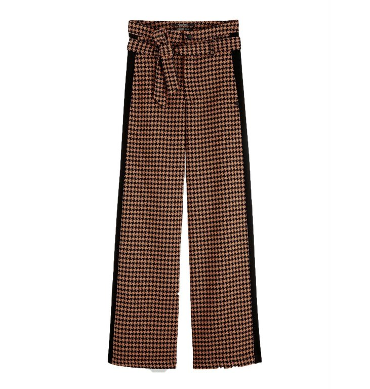 Maison Scotch Maison Scotch Brown Pied-de-Poule Wide Leg Pants 152641
