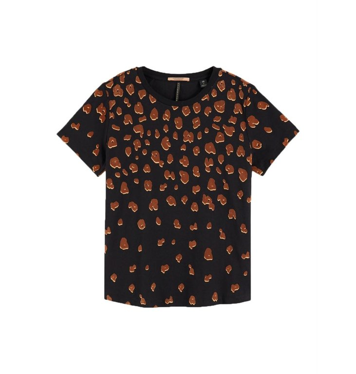 Maison Scotch Maison Scotch Black Leopard Short Sleeve Tee 153159
