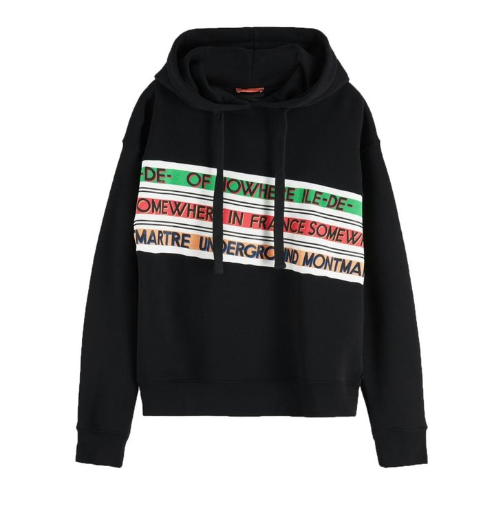 Maison Scotch Maison Scotch Black Hooded Sweatshirt 154334