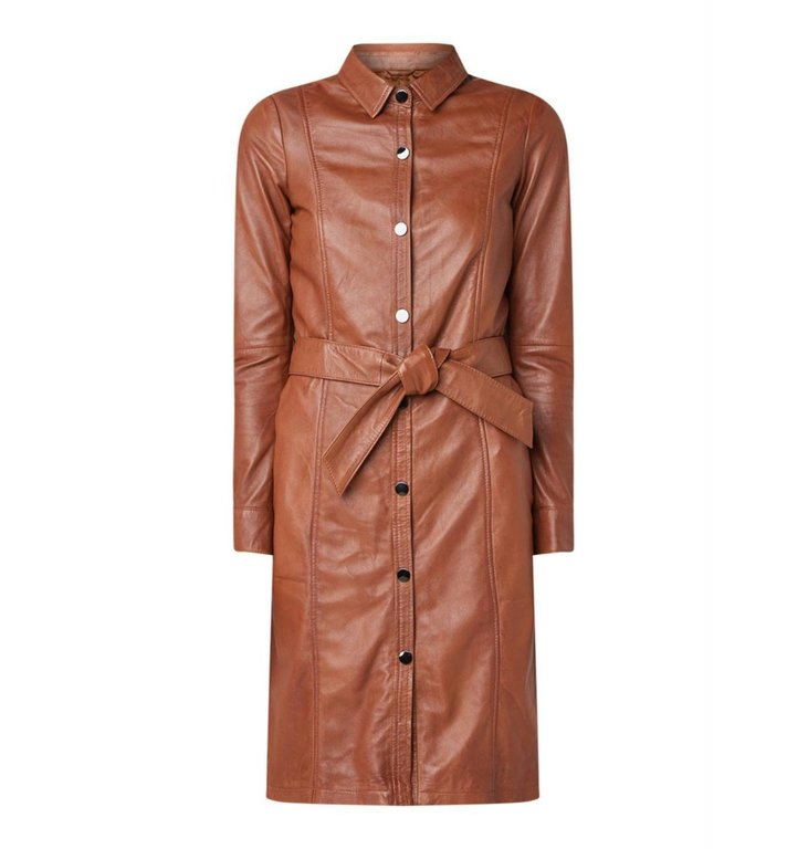 Arma Arma Camel Leather Dress Dianna Ross