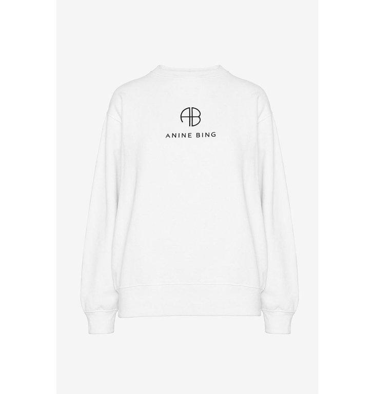 Anine Bing Anine Bing White Ramona Monogram Sweatshirt A08.5055.142