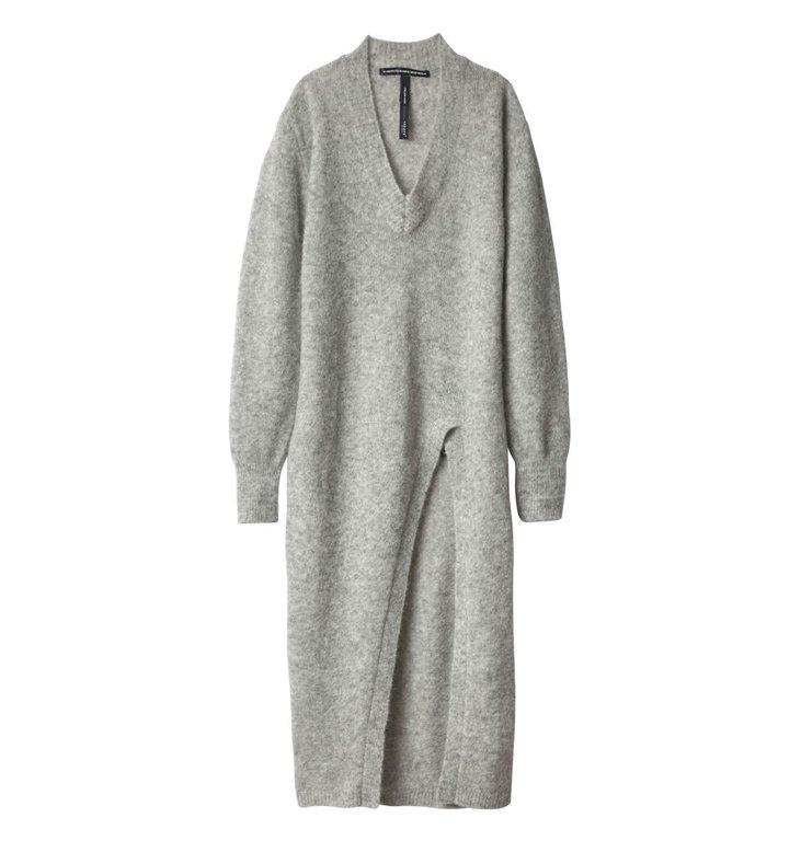 10Days 10Days Light Grey Melee High Split Sweater 20.606.9104