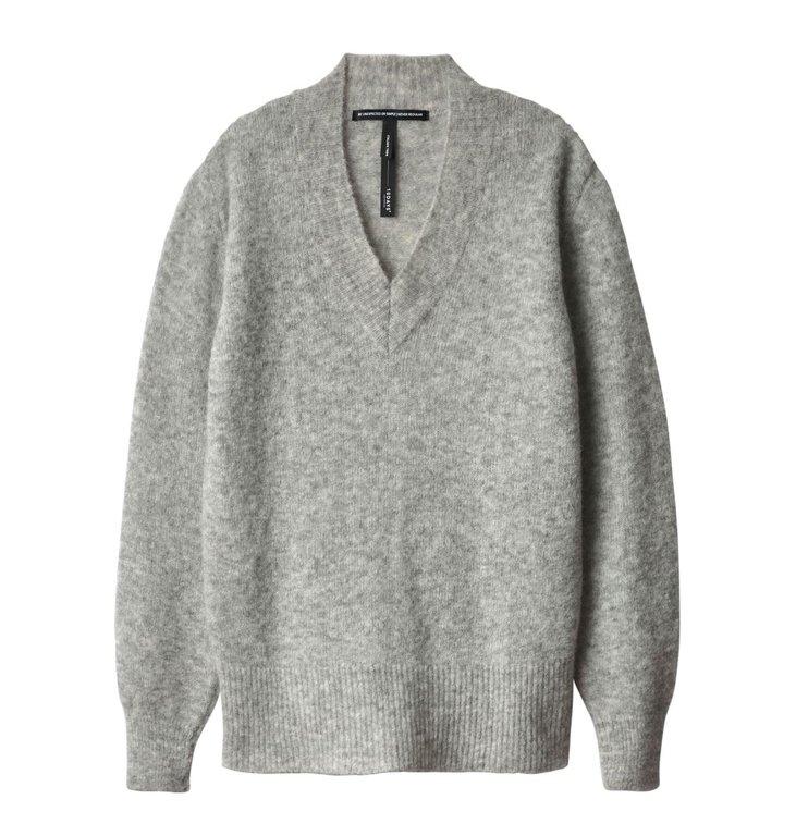 10Days 10Days Light Grey Melee V-Neck Sweater 20.607.9104