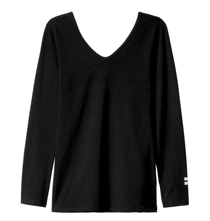 10Days 10Days Black 3/4 Sleeve V-Neck Tee 20.771.9104
