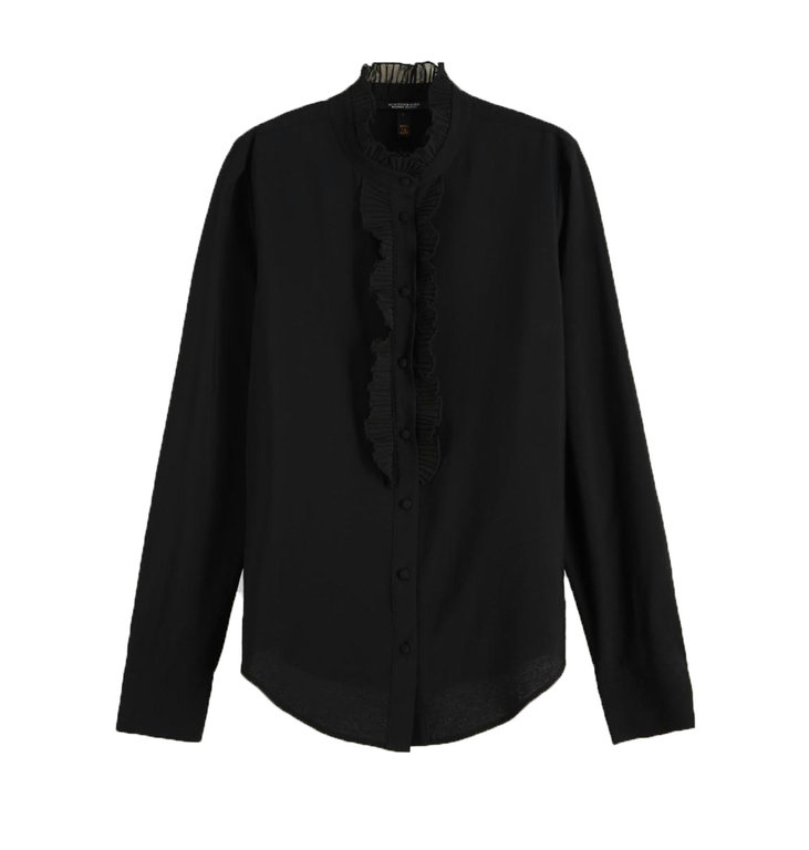 Maison Scotch Maison Scotch Black Ruffle Blouse 152480