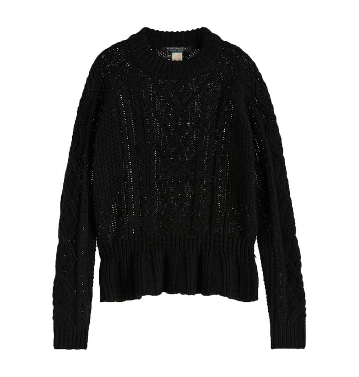 Maison Scotch Maison Scotch Black Chunky Cable Knit 153194