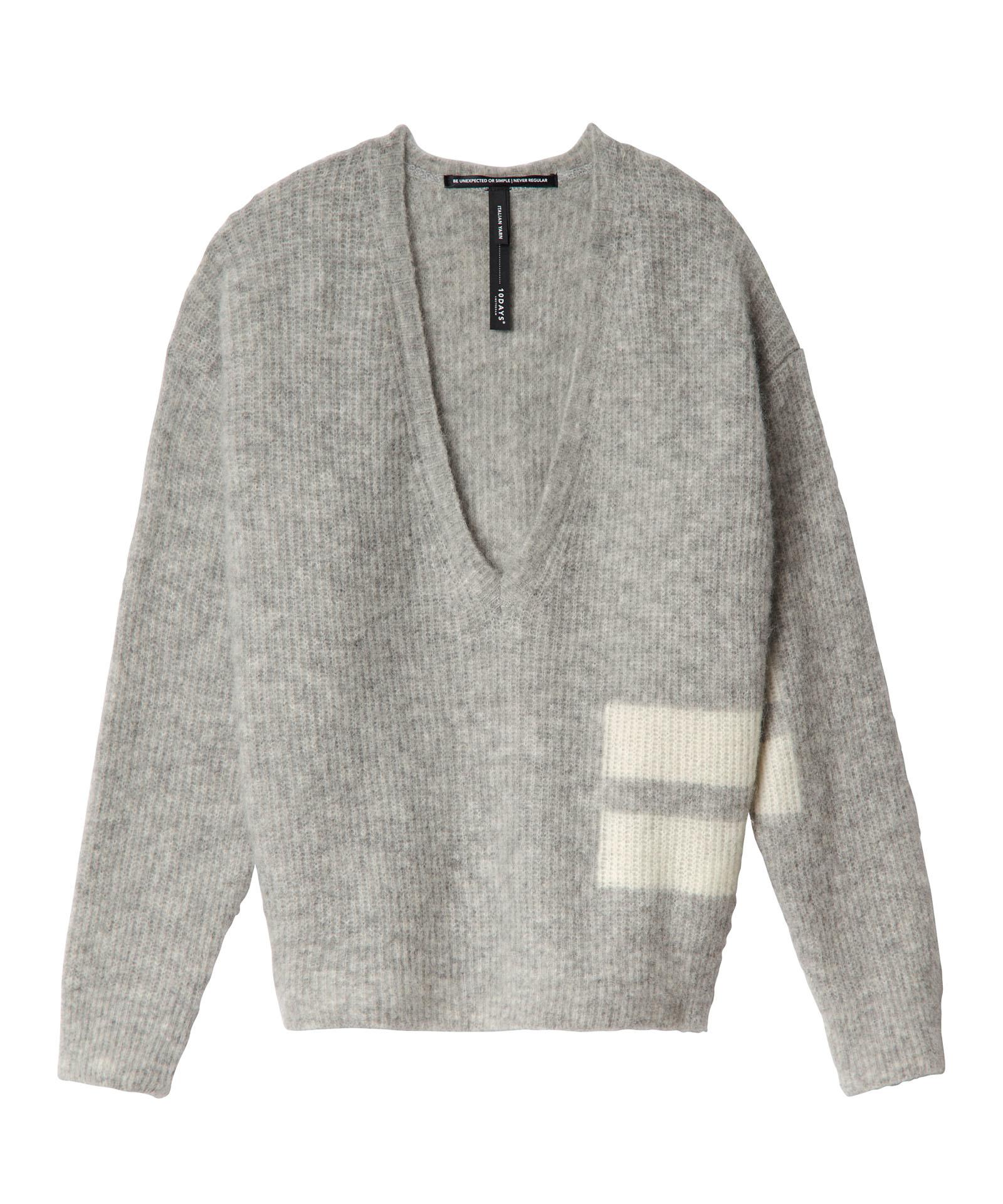 grey v-neck two-stripe knit