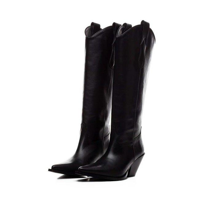 Toral Shoes Black Hoge cowboy Boots TL-12028