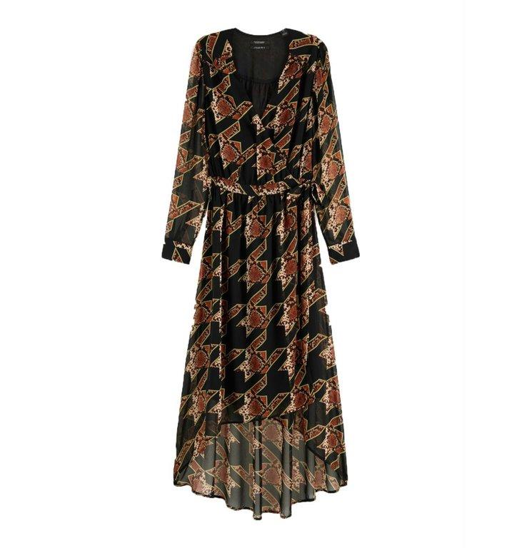 Maison Scotch Maison Scotch Black Snake Print Maxi Wrap Dress 152575