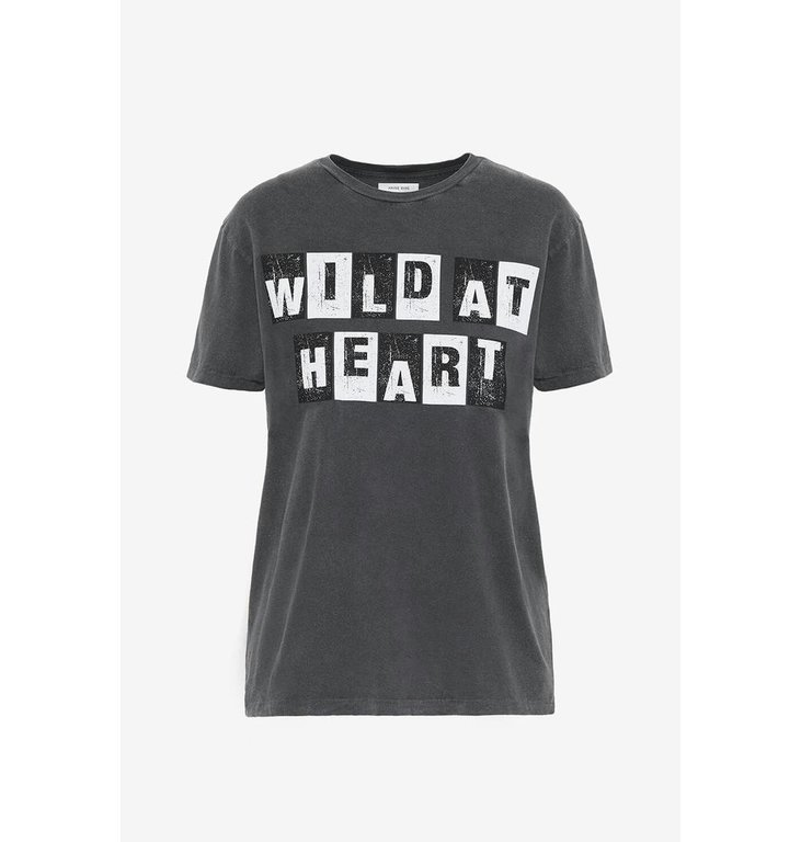 Anine Bing Anine Bing Washed Black Vintage Tee Wild Heart A082033012