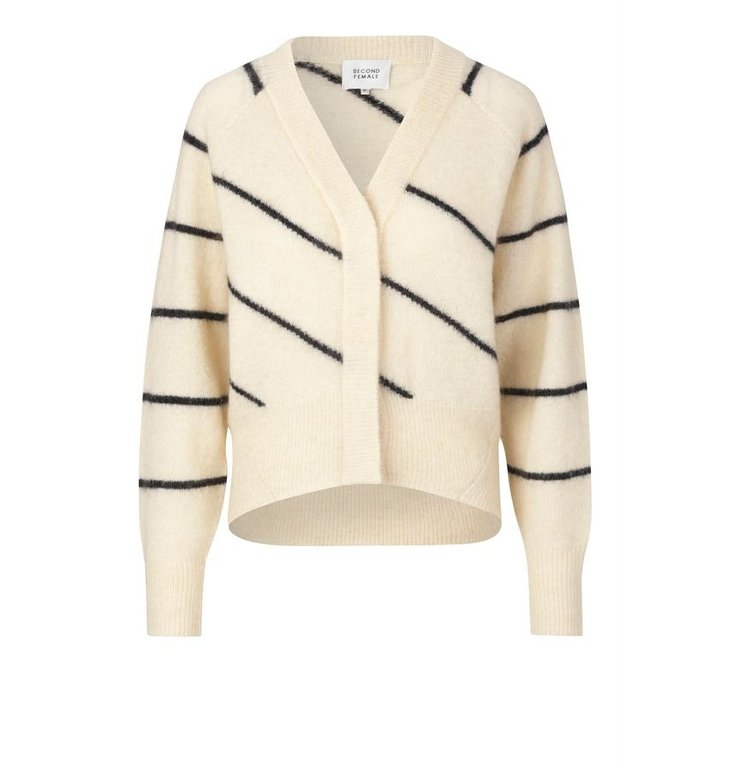 Second Female Second Female Off White Knit Cardigan Brook Striped Boxy
