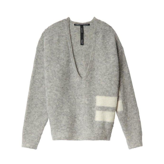 10Days Light Grey Melee Sweater V-Neck 20.603.0201/1