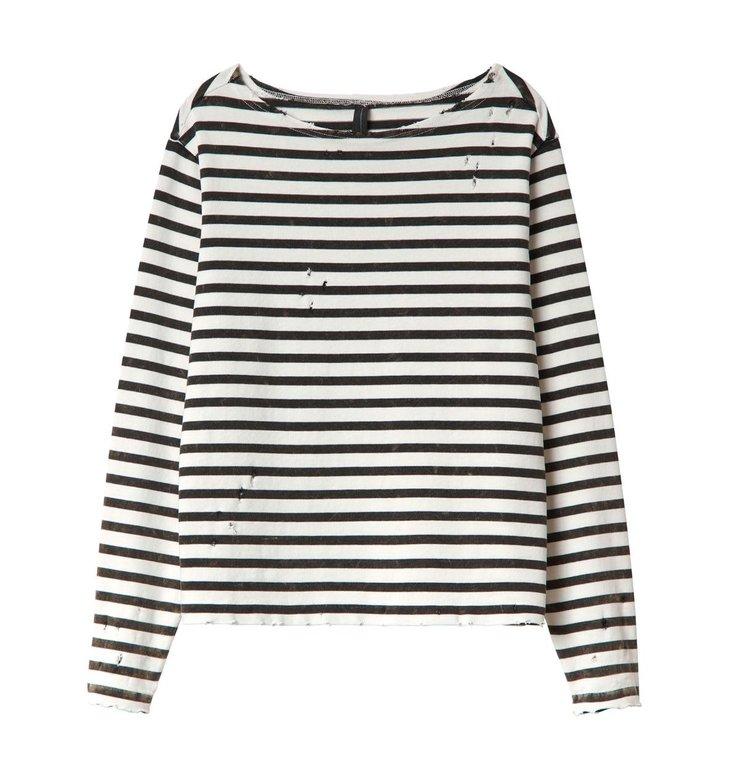 10Days 10Days Soft White/Black Damaged Longsleeve Tee Stripes 20.784.0201/1