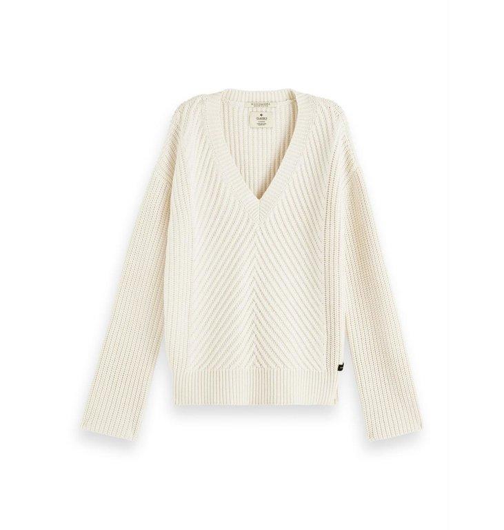 Maison Scotch Maison Scotch Off White V-neck Chunky Knit 156254