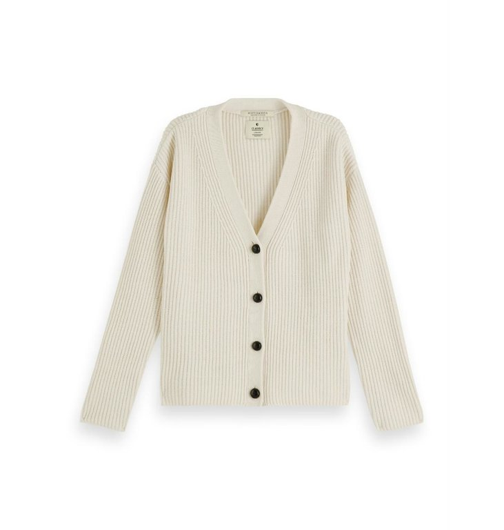 Maison Scotch Maison Scotch Off White V-neck Chunky Knit Cardigan 156253