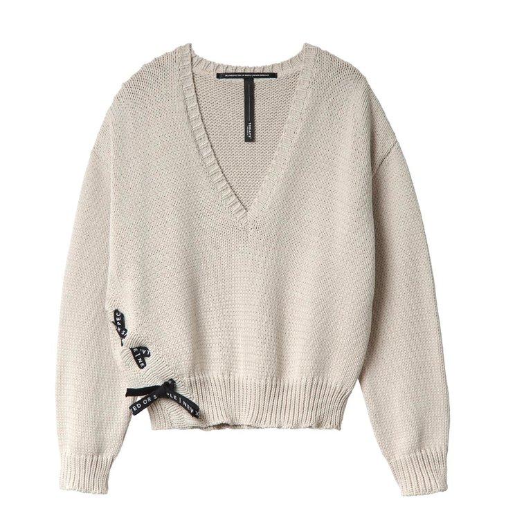 10Days 10Days White Sand V-Neck Sweater Rope 20.601.0201/2