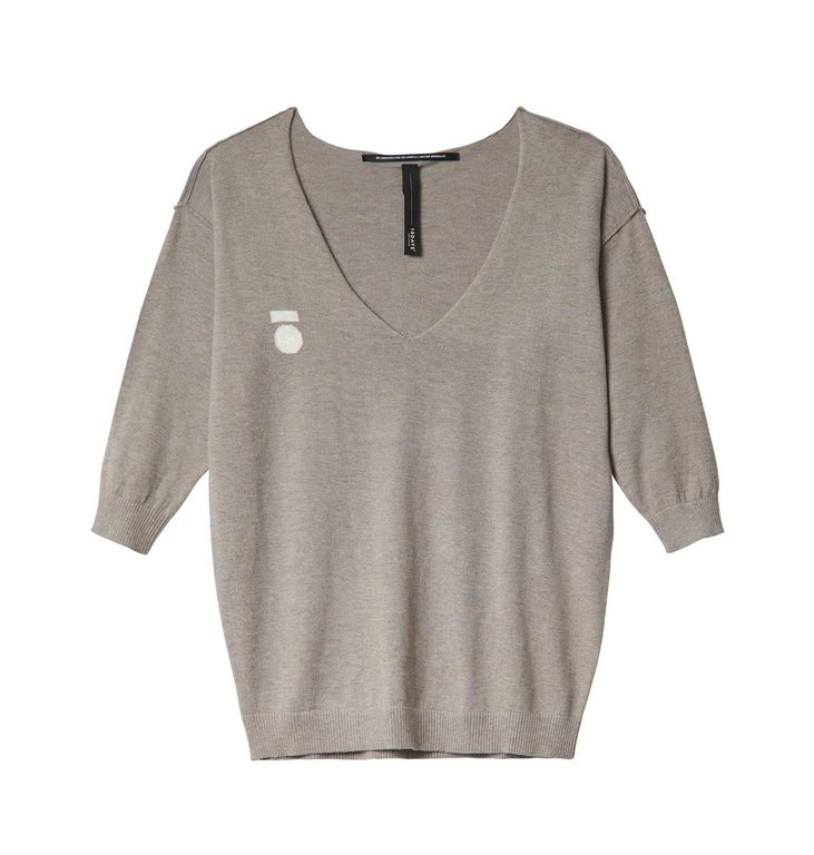 10Days 10Days Taupe Melee V-Neck Sweater 20.607.0201/2
