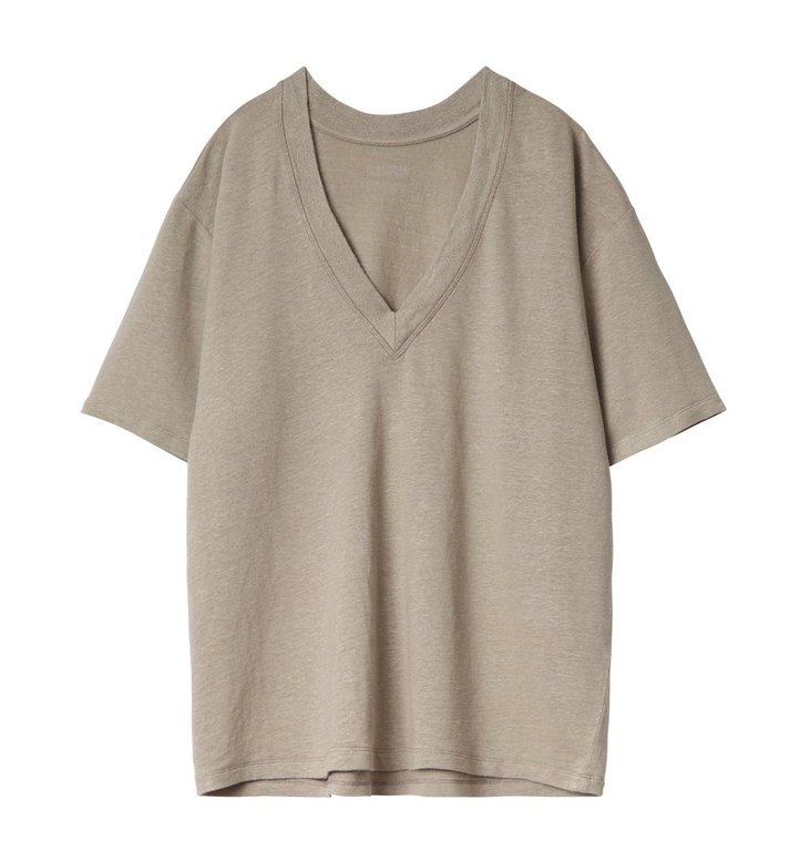 10Days 10Days Taupe Reversible Low V-Neck Tee 20.757.0201/2
