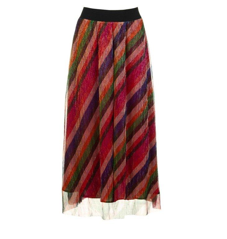 Ba&sh Ba&sh Striped Lurex Skirt Midnight