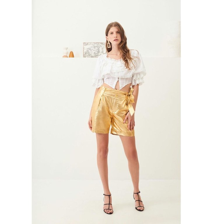 Antik Batik Antik Batik Gold High Waist Shorts Lumi