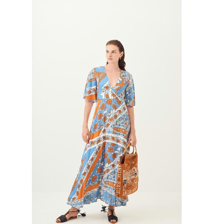 Antik Batik Antik Batik Blue Print Dress Leandra Long